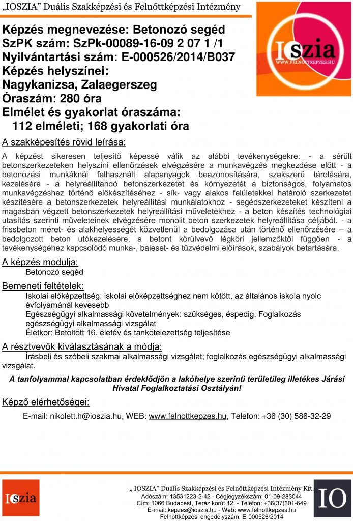Betonozó segéd - Nagykanizsa - Zalaegerszeg - felnottkepzes.hu - Felnőttképzés - IOSZIA