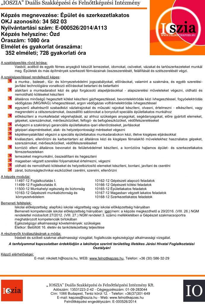 Épület- és szerkezetlakatos OKJ - Ózd - felnottkepzes.hu - Felnőttképzés - IOSZIA