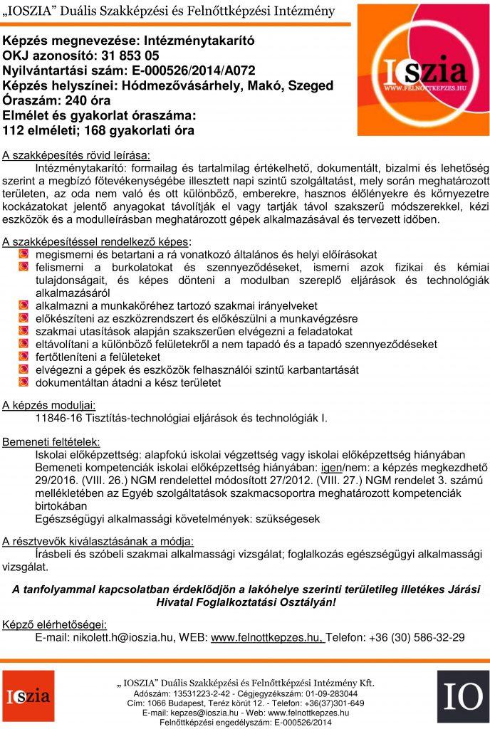 Intézménytakarító OKJ - Hódmezővásárhely - Makó - Szeged - felnottkepzes.hu - Felnőttképzés - IOSZIA