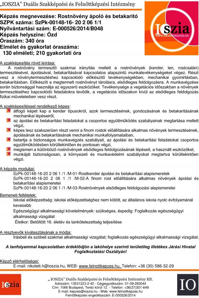 Rostnövény ápoló és betakarító - Ózd - felnottkepzes.hu - Felnőttképzés - IOSZIA
